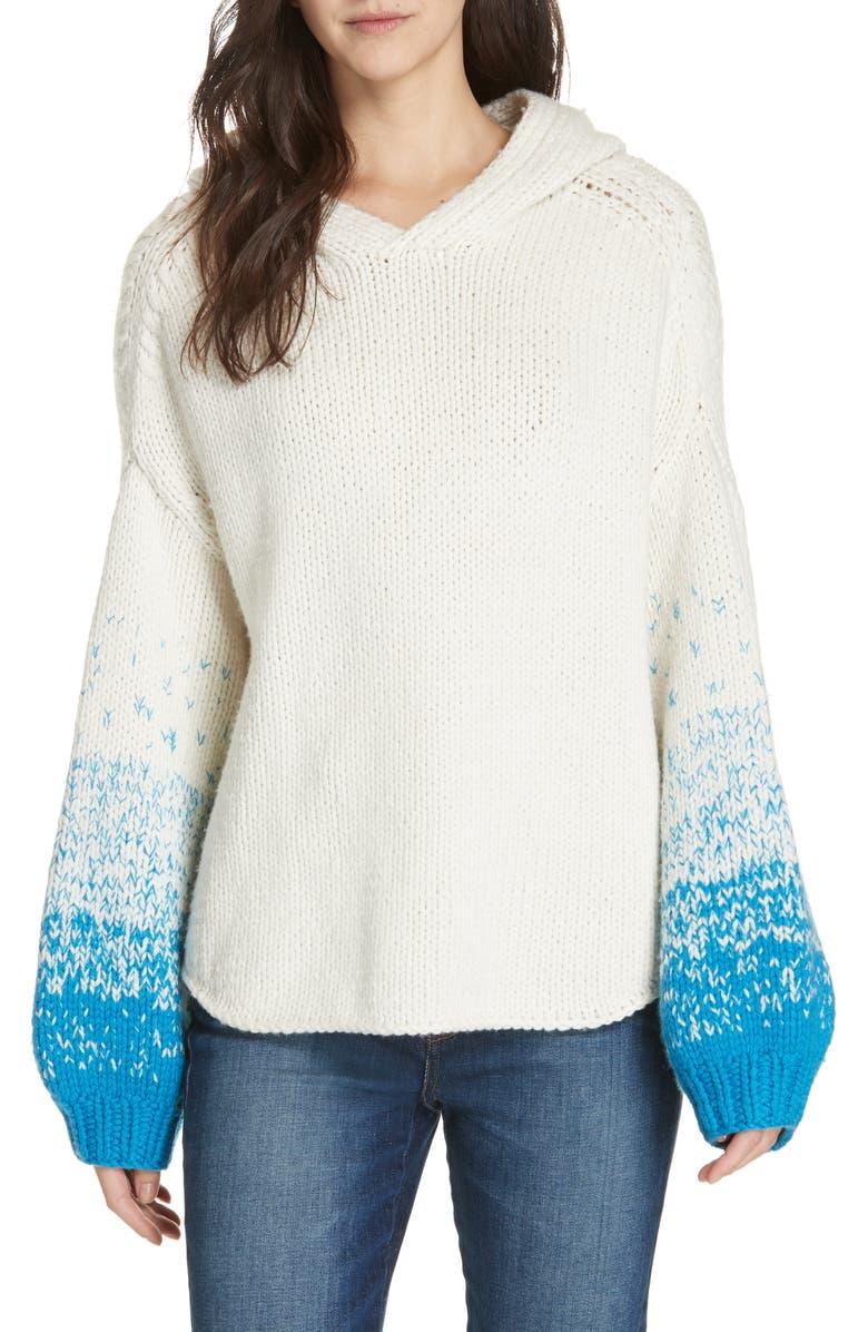 BROCHU WALKER Alvino Balloon Sleeve Hooded Sweater, Main, color, OLYMPUS WHITE COM