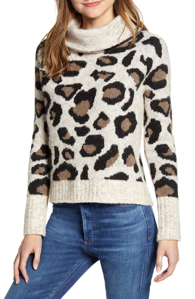 RD STYLE Leopard Jacquard Cowl Neck Sweater, Main, color, CAMEL LEOPARD