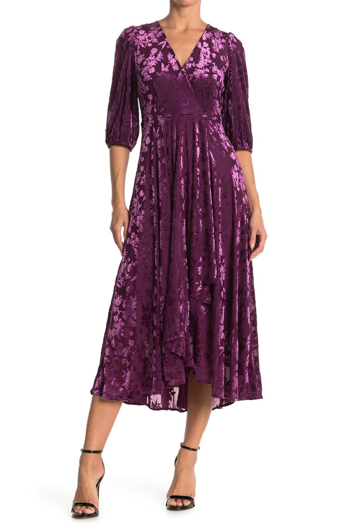 Image of Calvin Klein Burnout Velvet Wrap Style Midi Dress