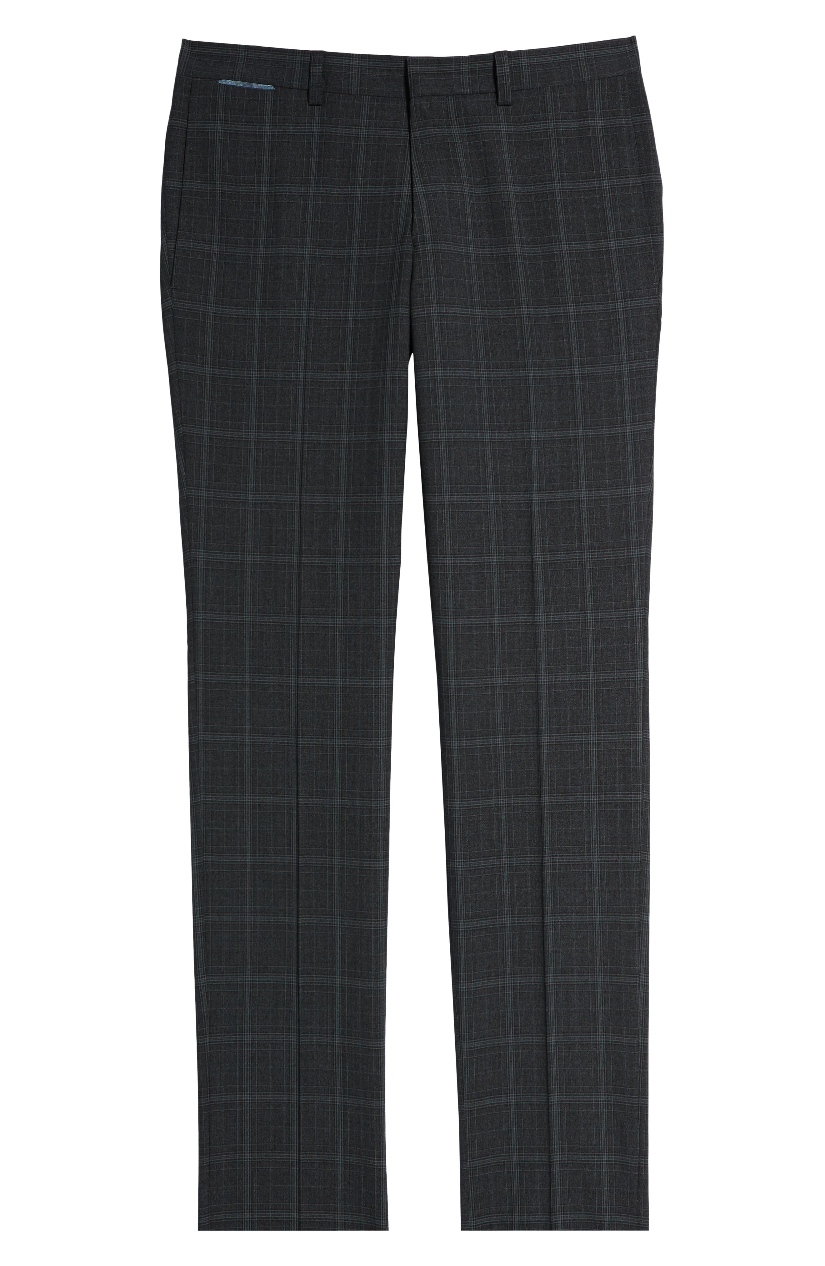 ,                             Reese Flat Front Plaid Wool Trousers,                             Alternate thumbnail 7, color,                             GREY