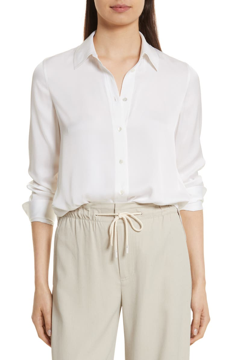 VINCE Slim Silk Blouse, Main, color, OPTIC WHITE
