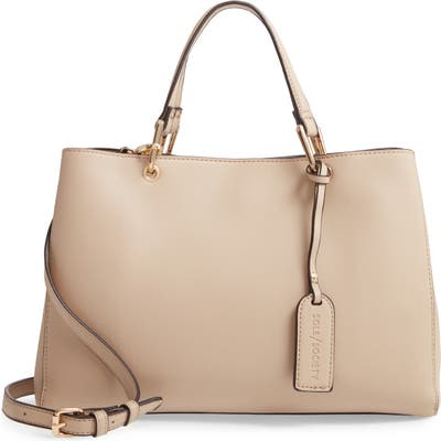 Sole Society Faux Leather Satchel - Beige
