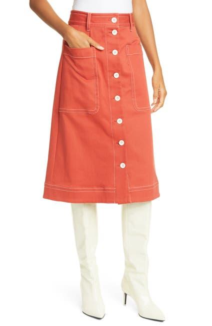 Image of Sea Corbin Front Button Cotton Blend Skirt