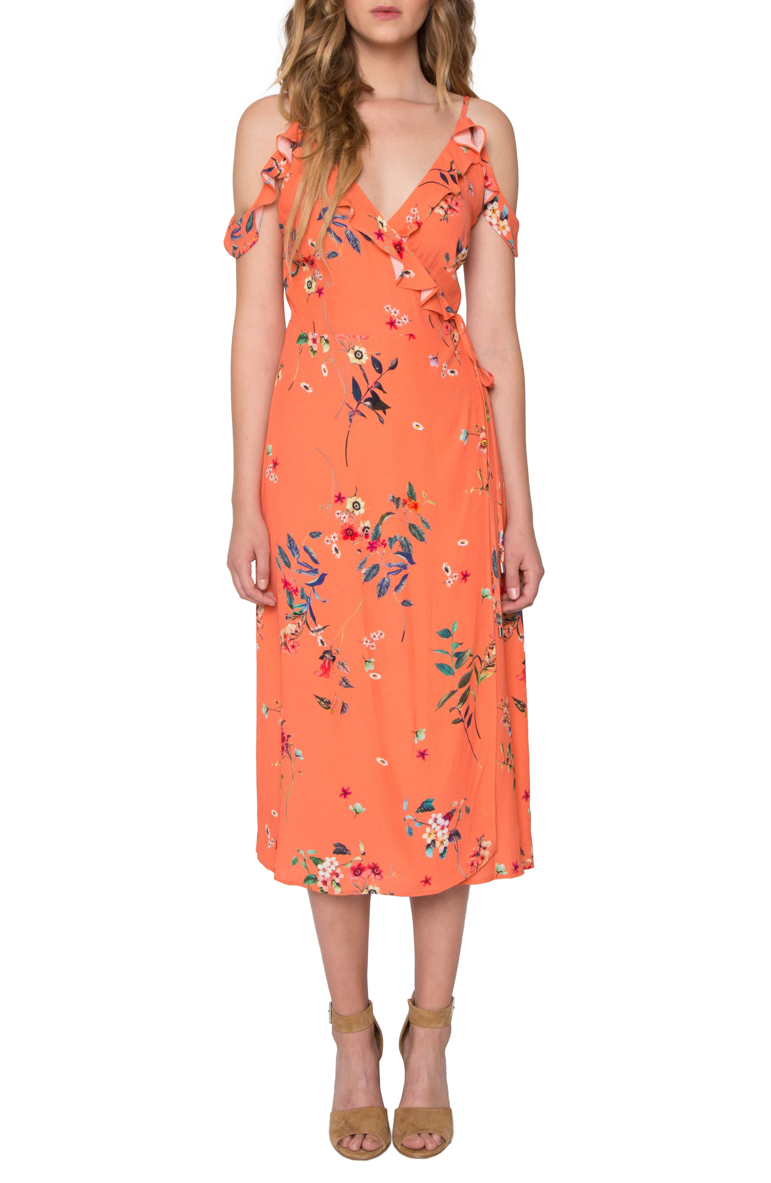 Print Midi Dress, Main, color, 848