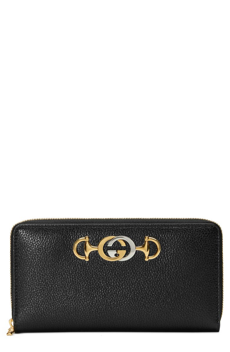 GUCCI 548 Zip-Around Leather Wallet, Main, color, BLACK
