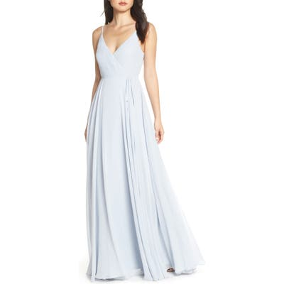 Jenny Yoo James Sleeveless Wrap Chiffon Evening Dress, Blue
