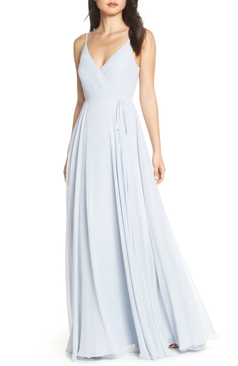 JENNY YOO James Sleeveless Wrap Chiffon Evening Dress, Main, color, WHISPER BLUE
