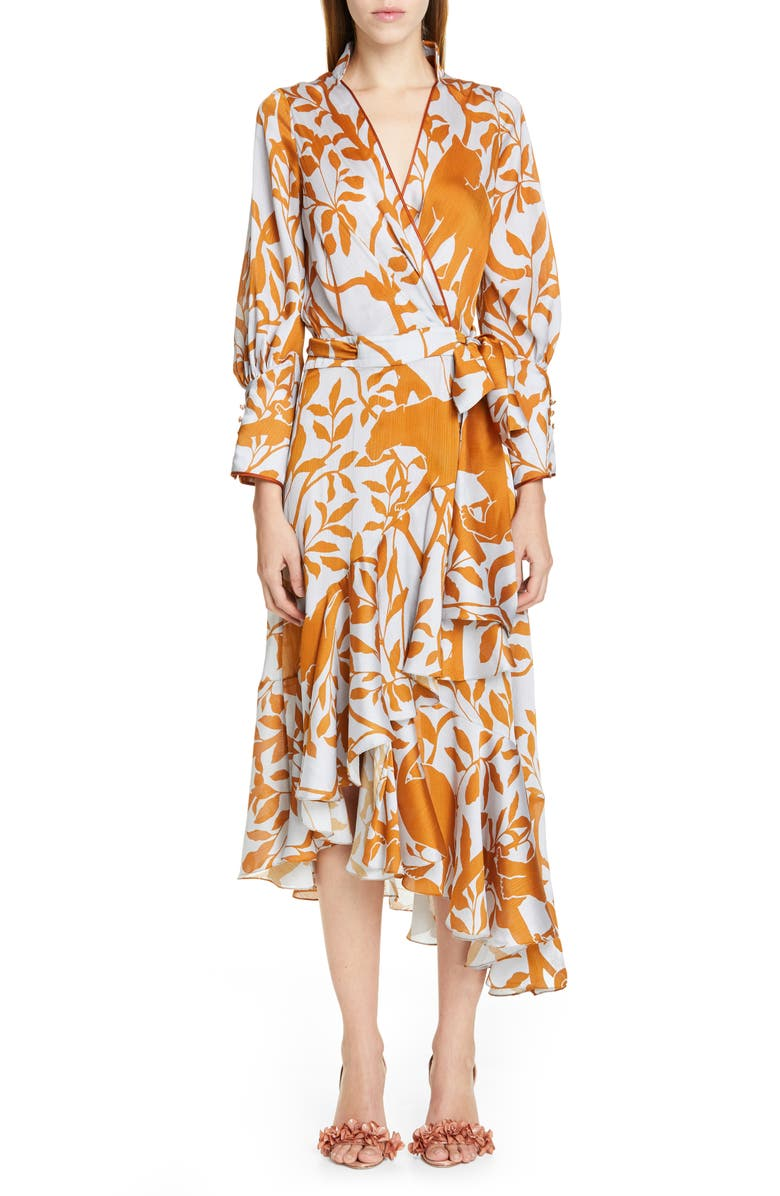 JOHANNA ORTIZ Jaguar Silhouette Asymmetrical Georgette Wrap Dress, Main, color, MYSTIC GREY