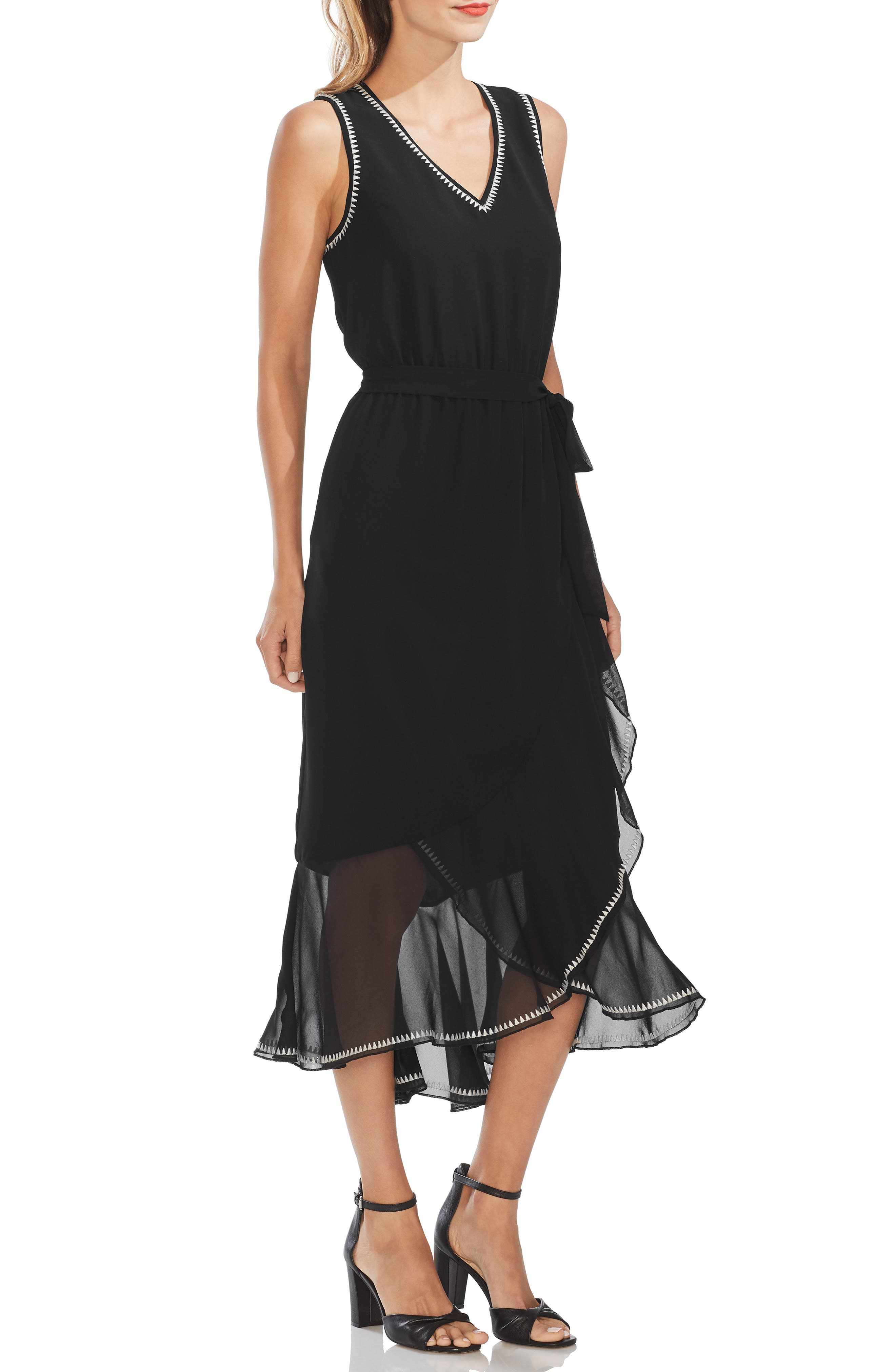 Vince Camuto Embroidered Ruffle Belted Chiffon Dress, Black