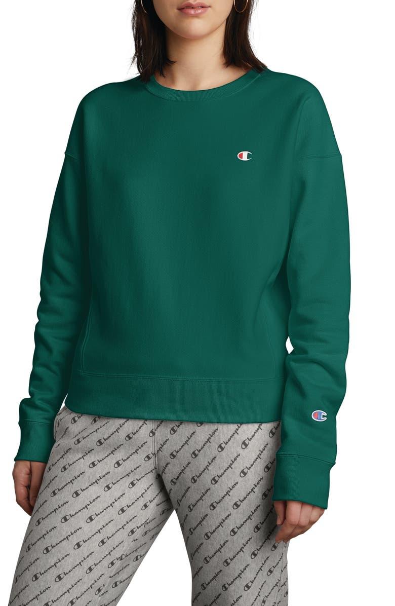 CHAMPION Reverse Weave Sweatshirt, Main, color, JEWELED JADE