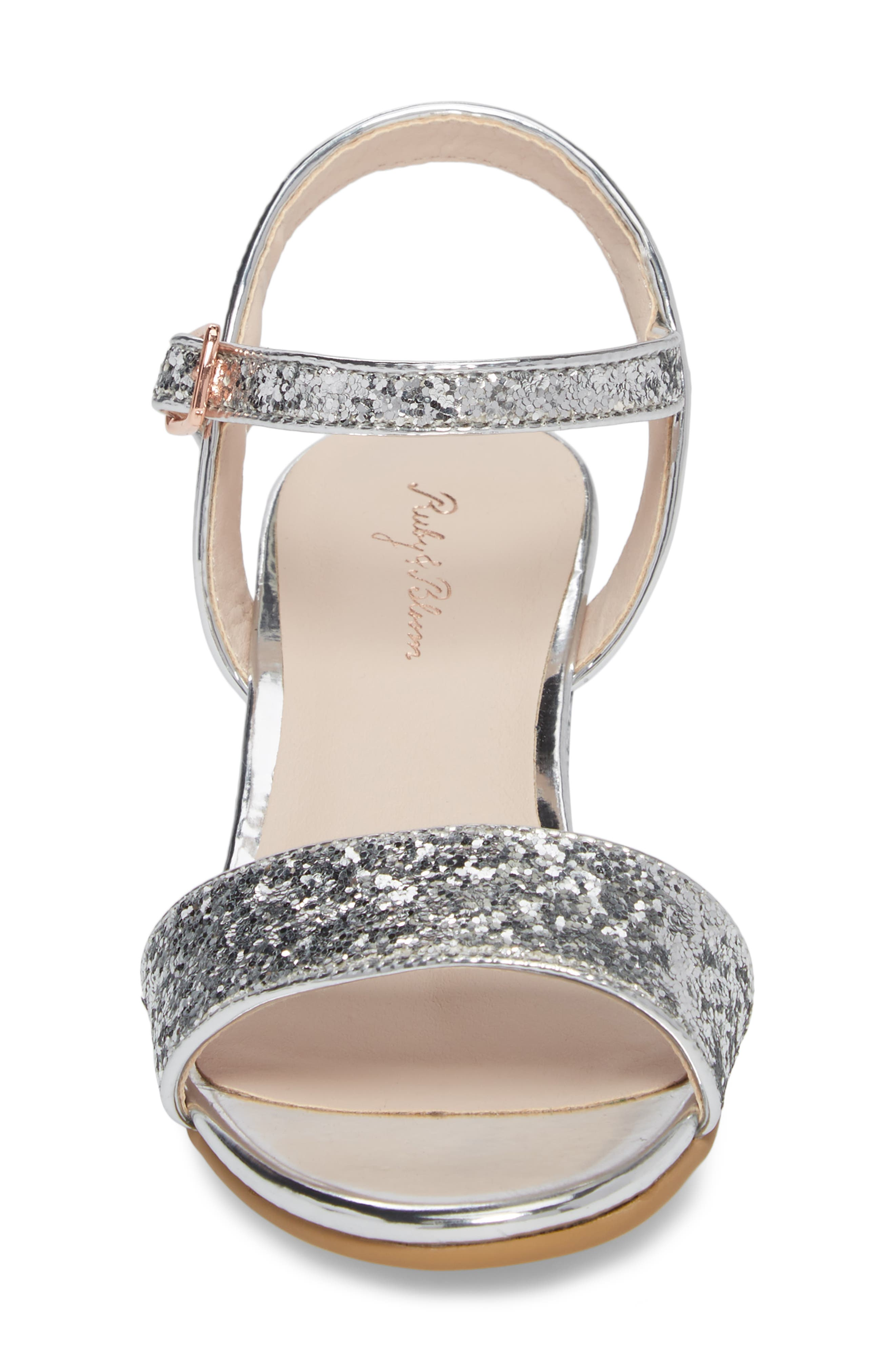 ,                             Danni Block Heel Sandal,                             Alternate thumbnail 4, color,                             SILVER GLITTER