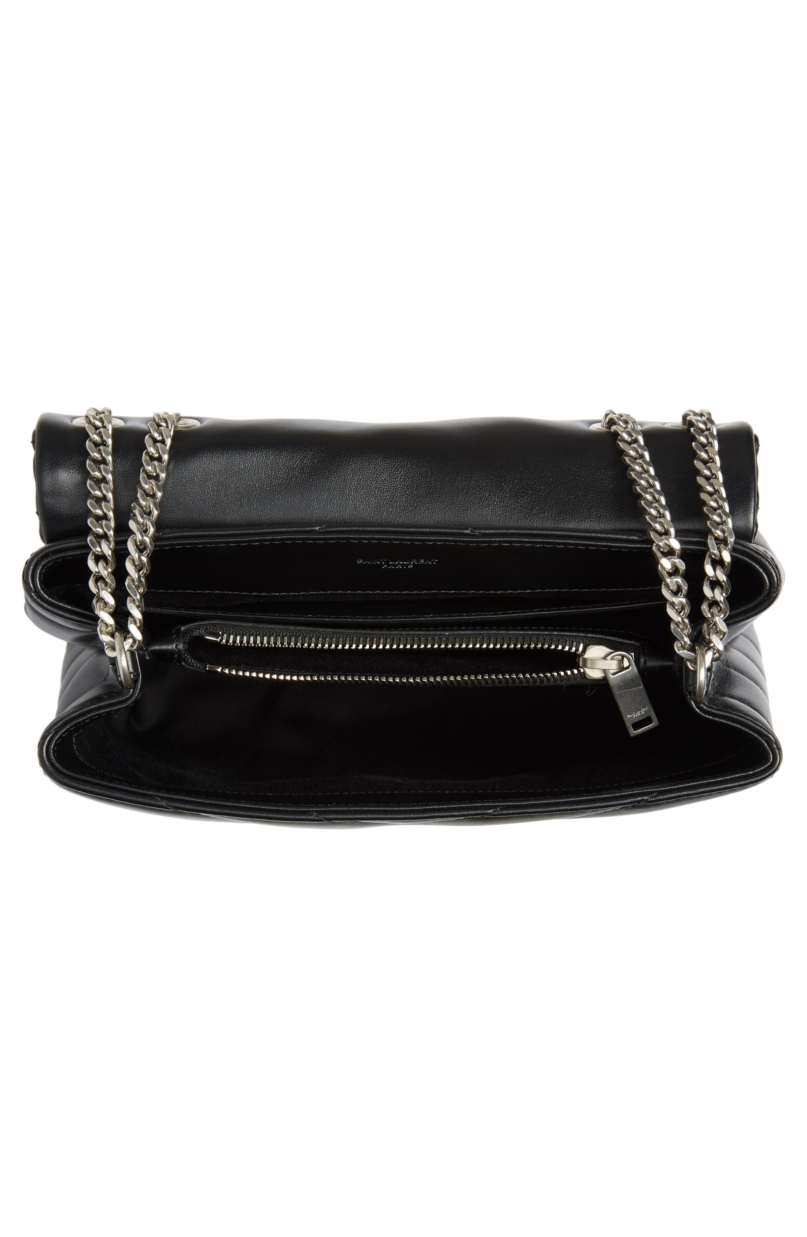 ,                             Small Loulou Leather Shoulder Bag,                             Alternate thumbnail 3, color,                             001