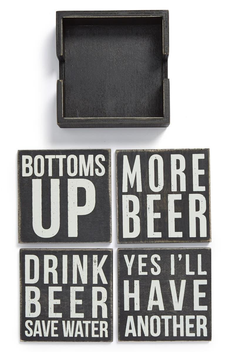 PRIMITIVES BY KATHY 'Beer' Wood Coasters, Main, color, Black