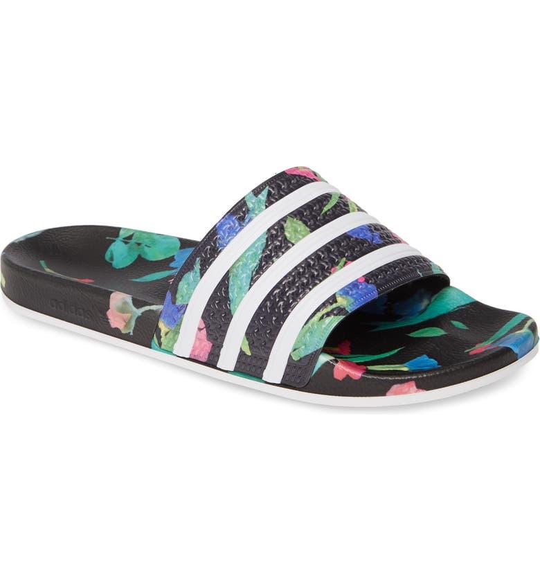 ADIDAS 'Adilette' Slide Sandal, Main, color, CORE BLACK/ WHITE/ BLACK