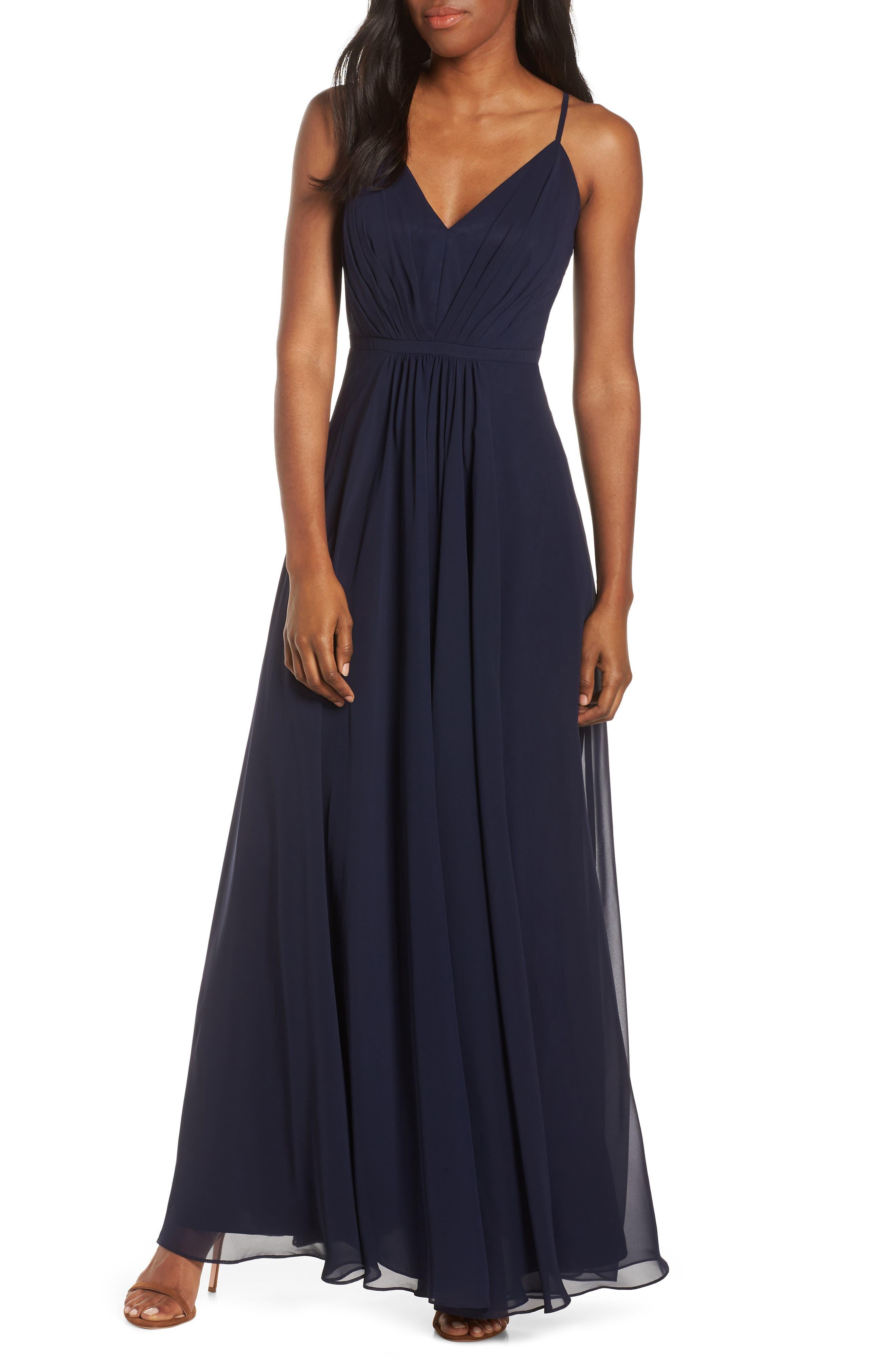 Eliza J V-Neck Pleated Chiffon Gown, Blue