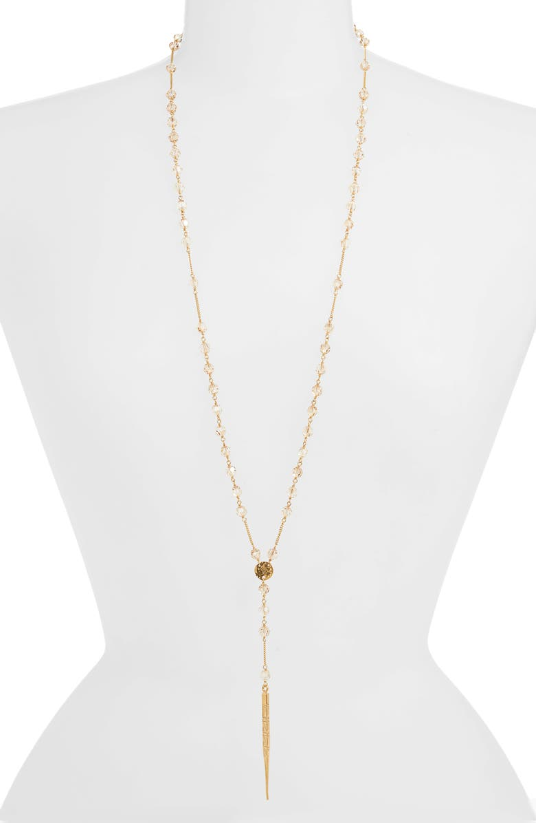 CHAN LUU Spike Pendant Beaded Y-Necklace, Main, color, GOLDEN SHADOW