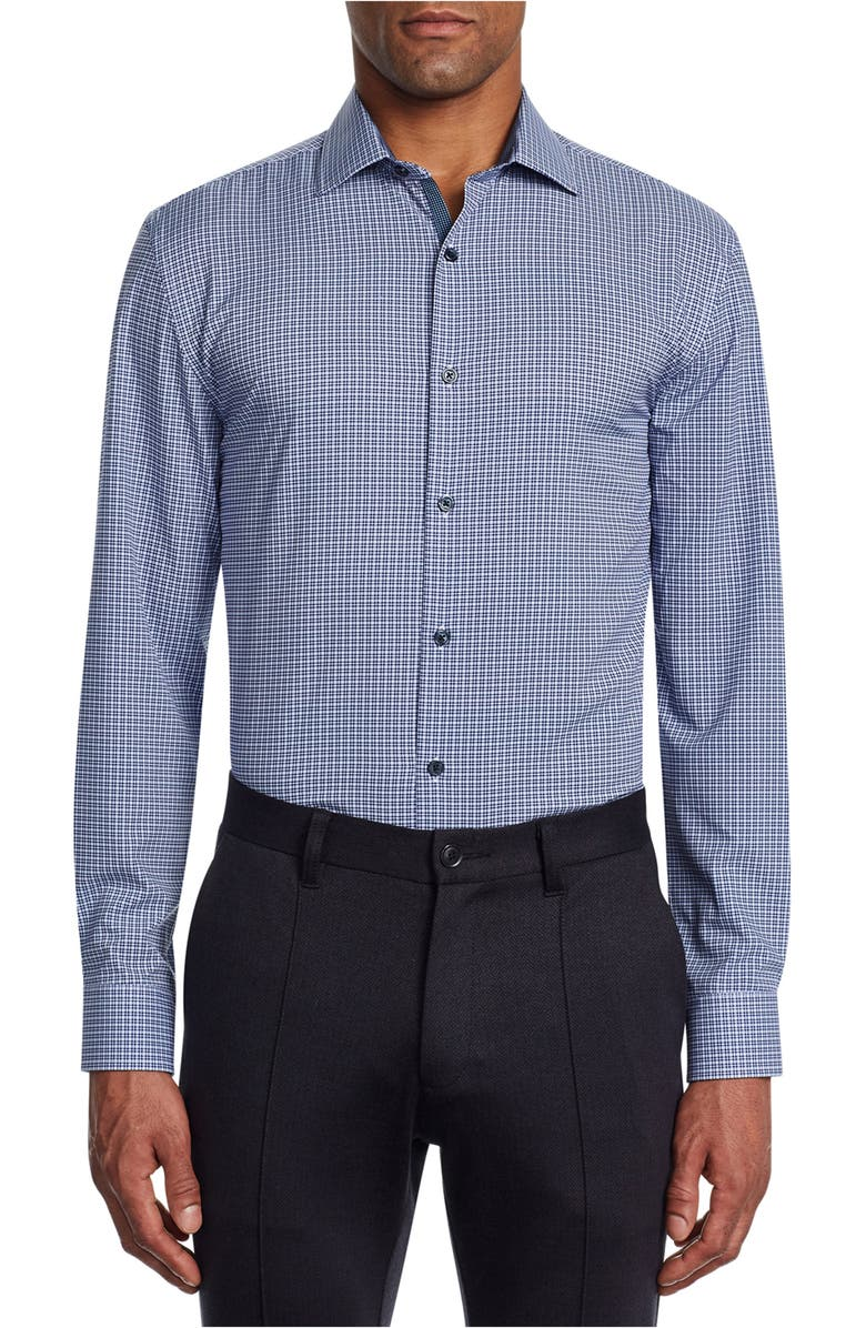 W.R.K Trim Fit Stretch Plaid Performance Dress Shirt, Main, color, WHITE/ BLUE