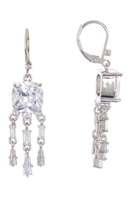 Image of Rivka Friedman Rhodium Clad Cushion Cut CZ Chandelier Earrings