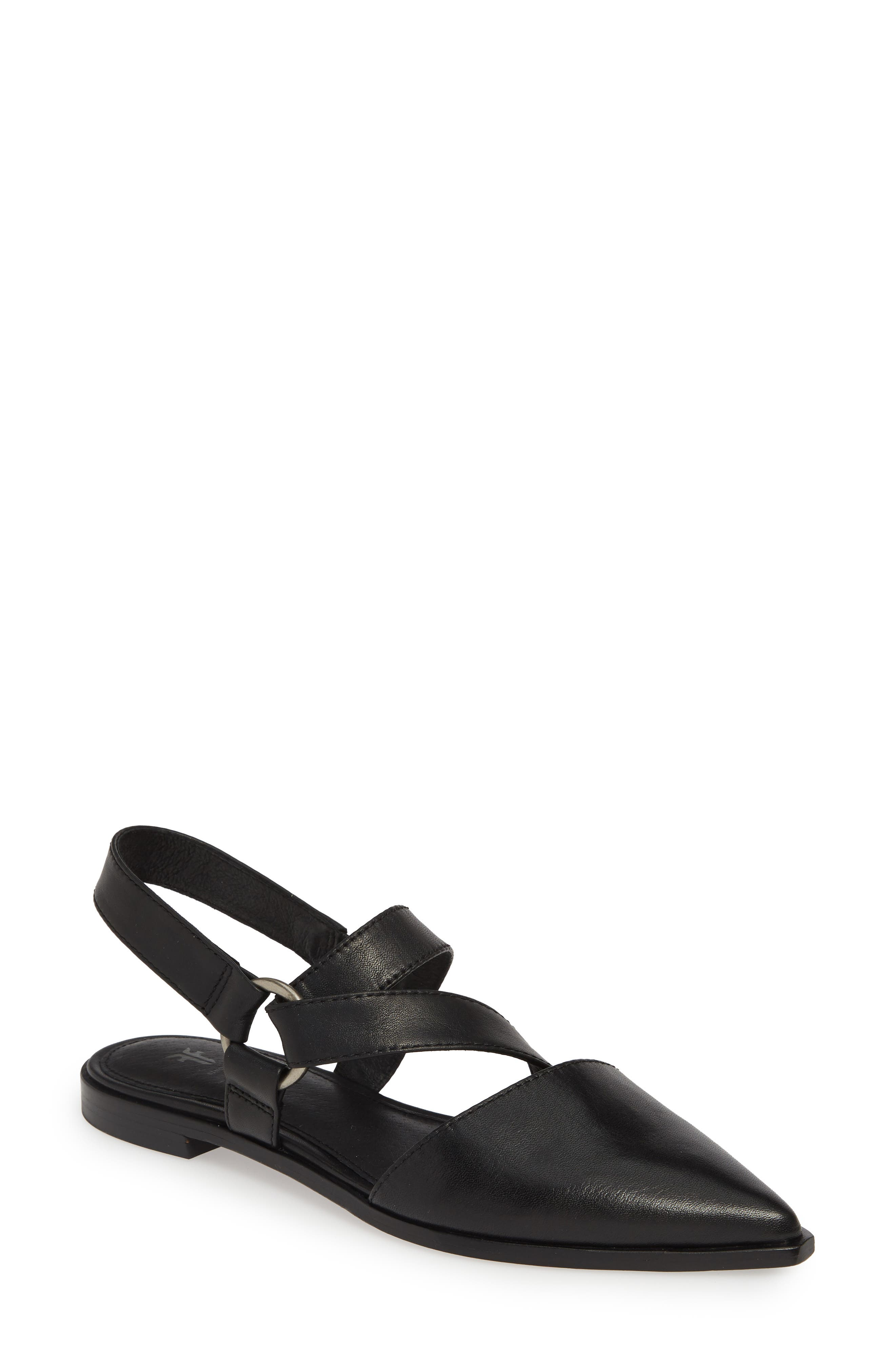 Frye Kenzie Strappy Harness Flat, Black