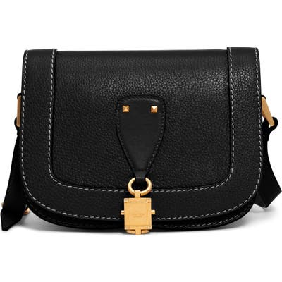 Valentino Garavani Small V-Locker Leather Saddle Bag - Black