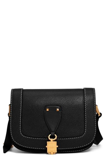 Valentino Garavani Small V-locker Leather Saddle Bag In Nero