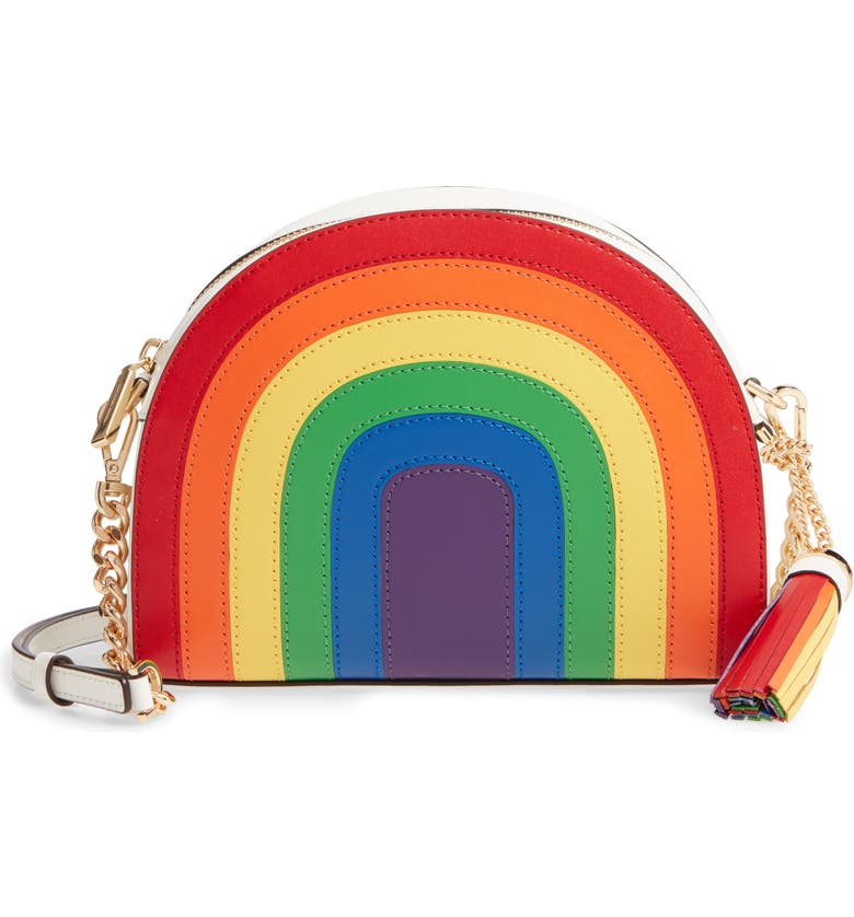 MICHAEL MICHAEL KORS Ginny Rainbow Stripe Leather Crossbody Bag, Main, color, 100