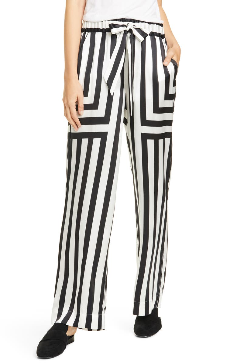 FRAME Mixed Stripe Silk PJ Pants, Main, color, OFF WHITE MULTI