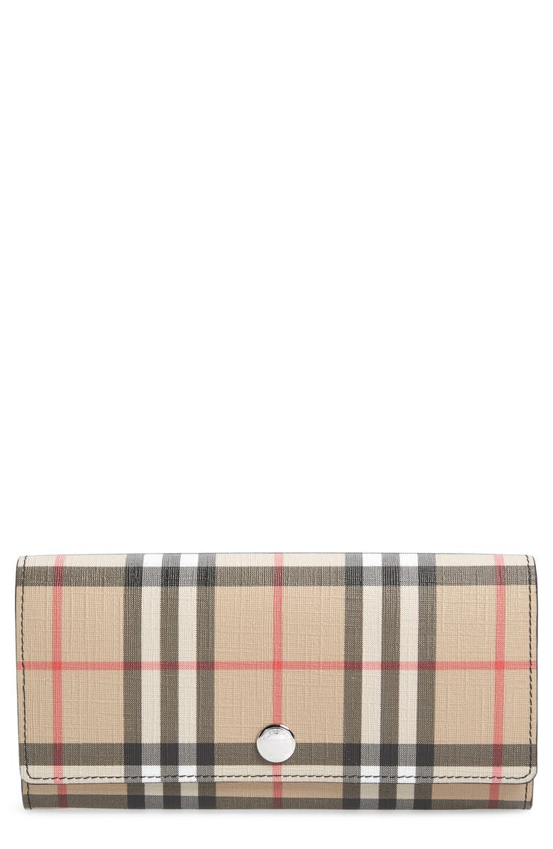 BURBERRY Halton Vintage Check Continental Wallet, Main, color, BLACK