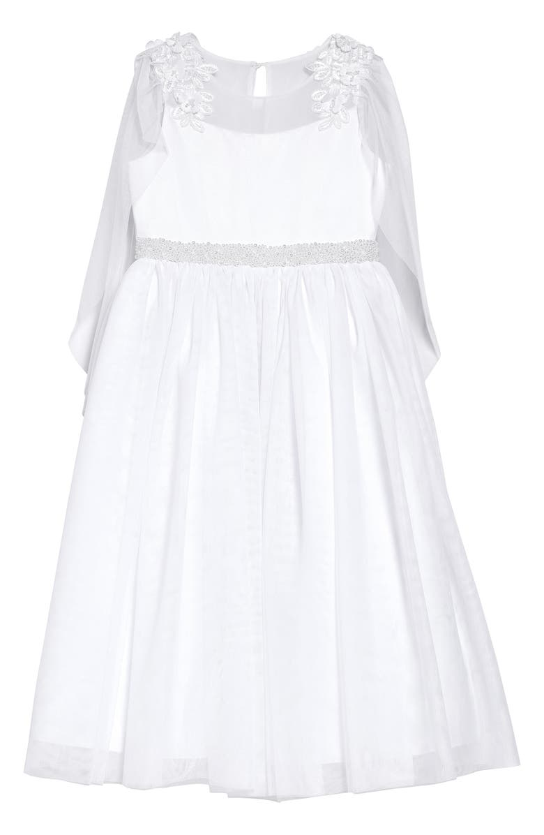 IRIS & IVY Illusion Lace Cape Sleeve First Communion Dress, Main, color, WHITE