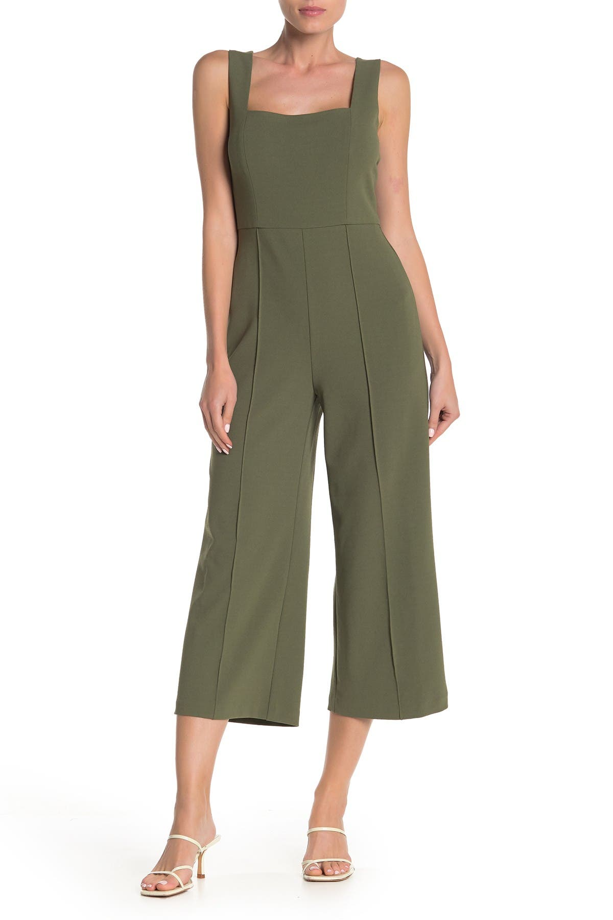 Image of Donna Morgan Square Neck Sleeveless Crepe Wide Leg Jumpsuit
