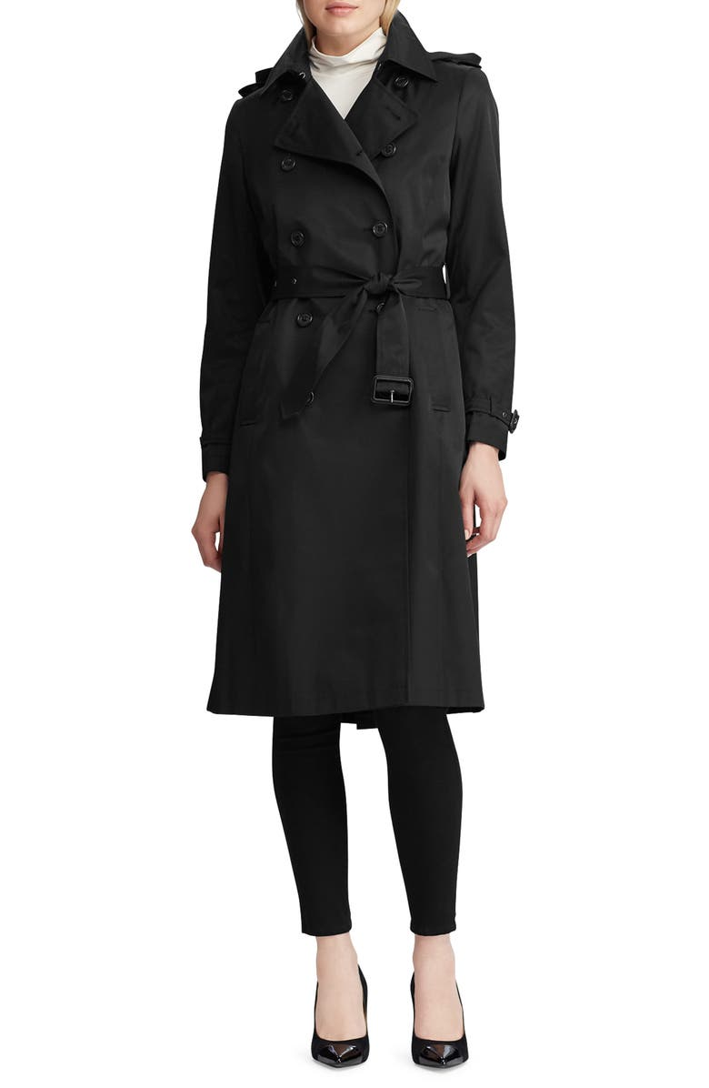 LAUREN RALPH LAUREN Double Breasted Trench Coat, Main, color, BLACK