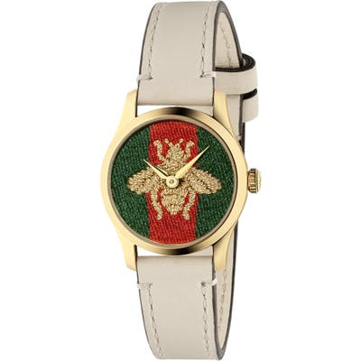 Gucci G-Timeless Bee Leather Strap Watch, 27Mm