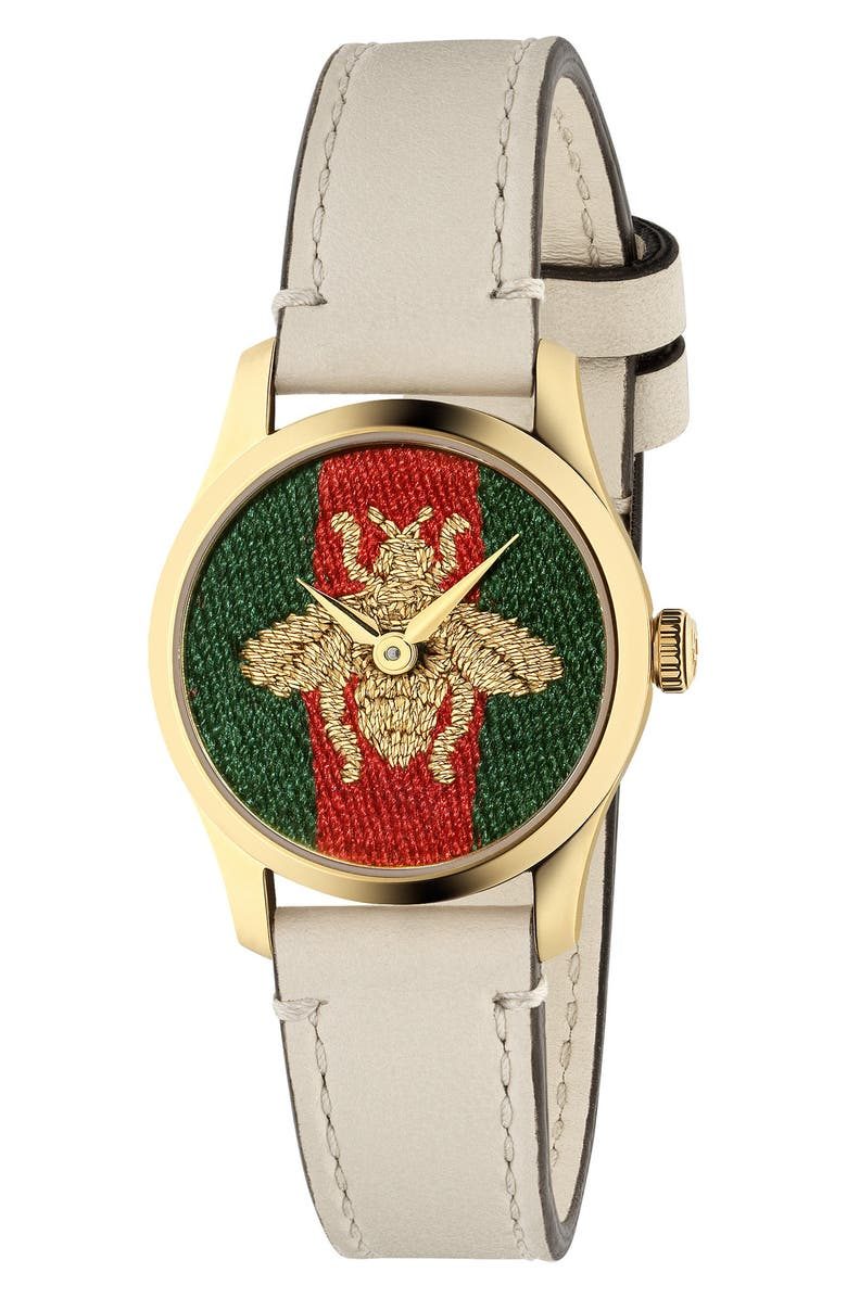 GUCCI G-Timeless Bee Leather Strap Watch, 27mm, Main, color, WHITE/ GREEN/ RED/ GOLD