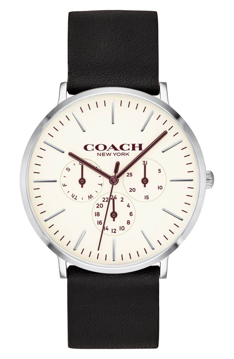 COACH Varick Multifunction Leather Strap Watch, 40mm, Main, color, BLACK/ SILVER/ CHALK