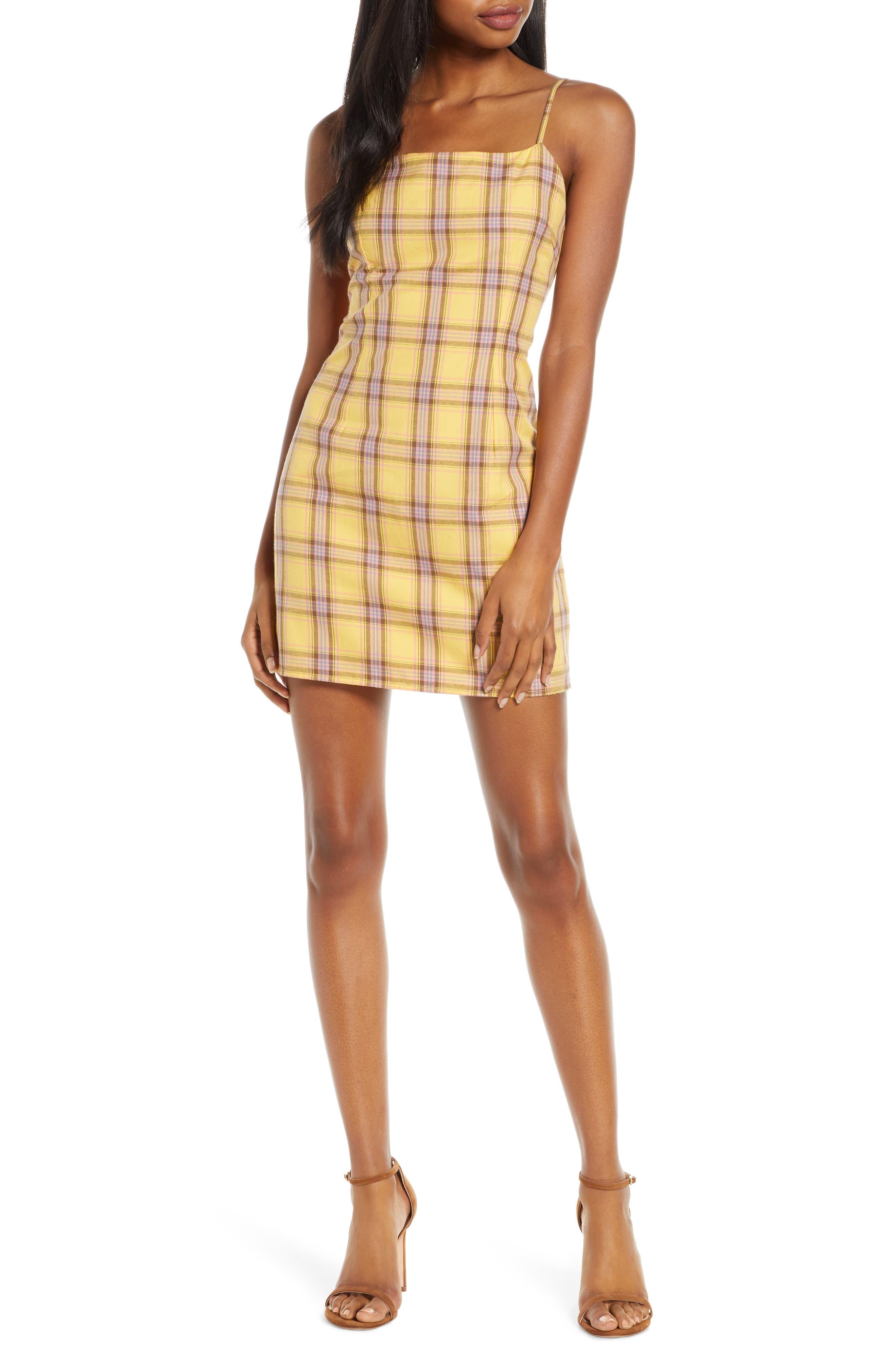 Bb Dakota Sleeveless Plaid Minidress, Yellow