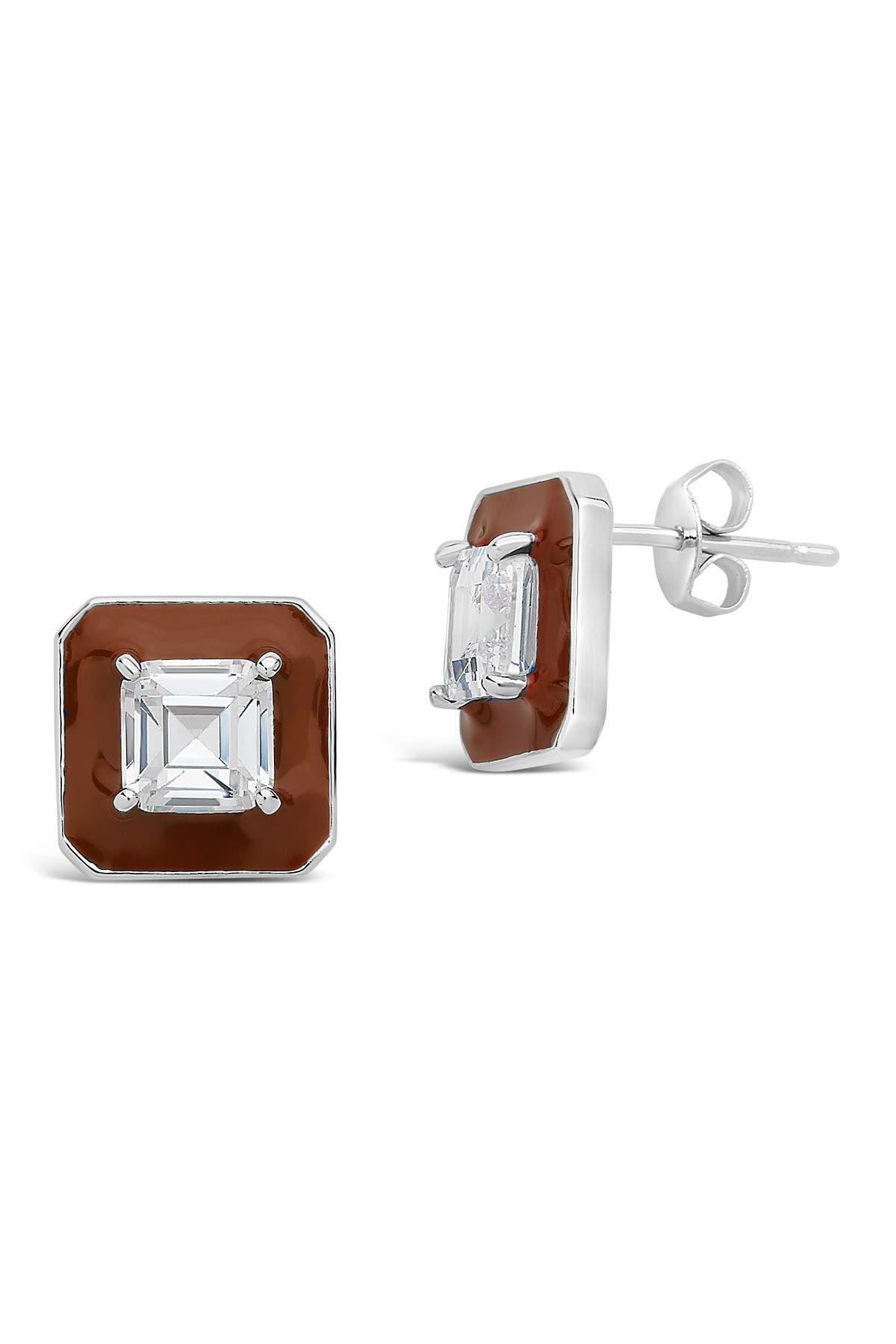 Image of Sterling Forever Rhodium Plated Cushion-Cut CZ Cinnamon Halo Stud Earrings