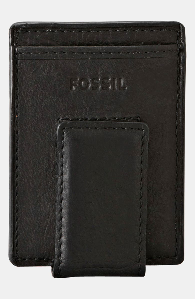FOSSIL 'Ingram' Leather Magnetic Money Clip Card Case, Main, color, 001
