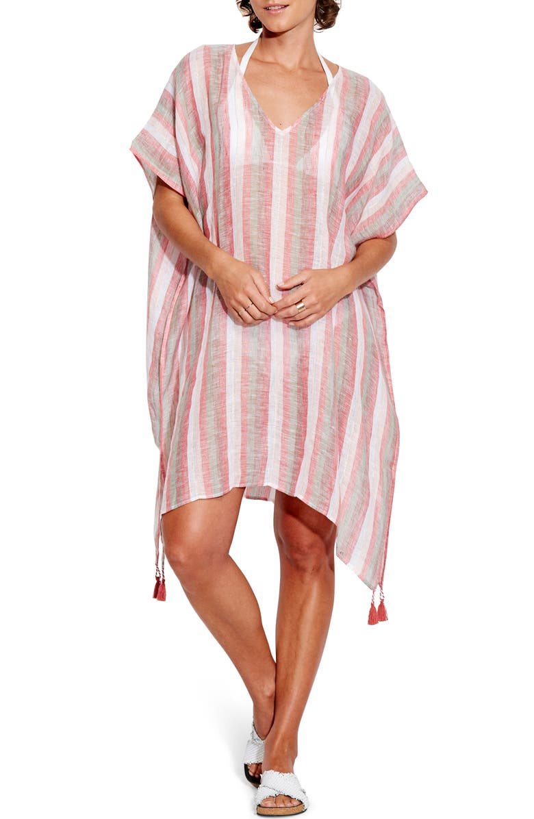 SEAFOLLY Vertical Stripe Caftan Cover-Up Dress, Main, color, SPICE STRIPE