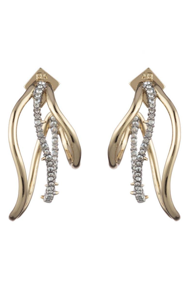 ALEXIS BITTAR Orbit Wavy Hoop Earrings, Main, color, MIXED METAL