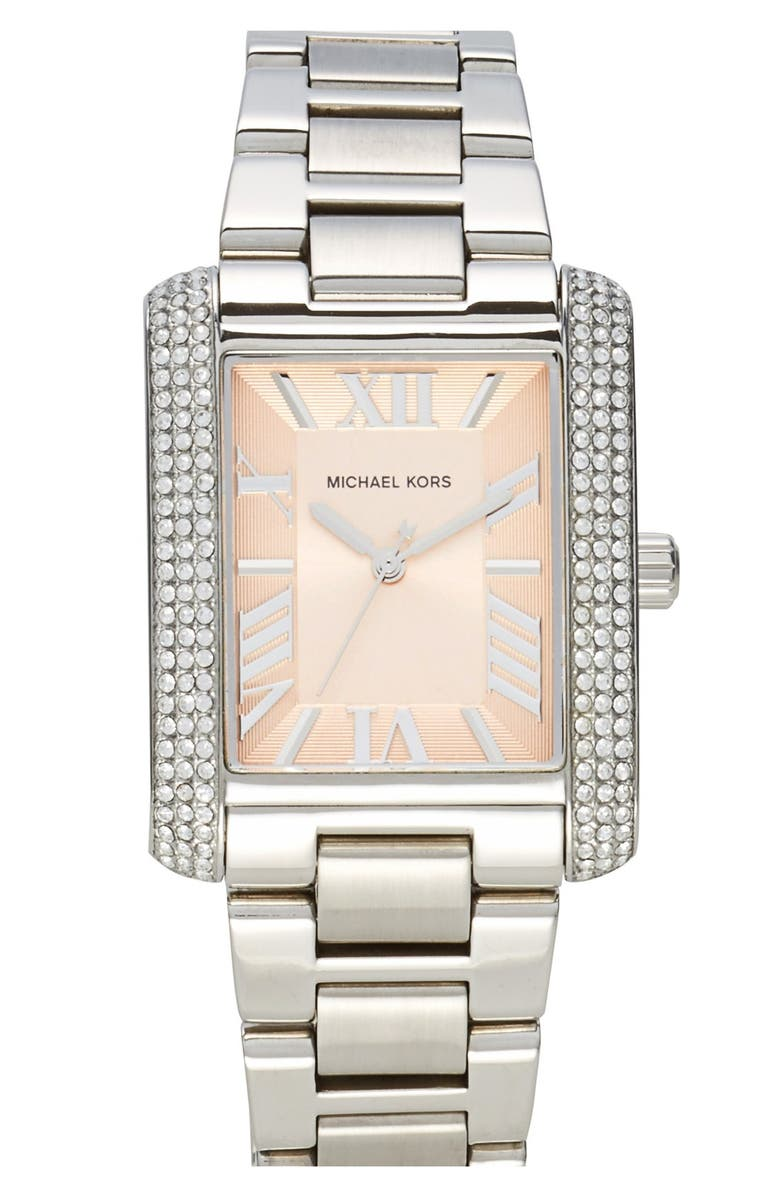 MICHAEL KORS 'Emery' Crystal Accent Bracelet Watch, 31mm x 40mm, Main, color, 040