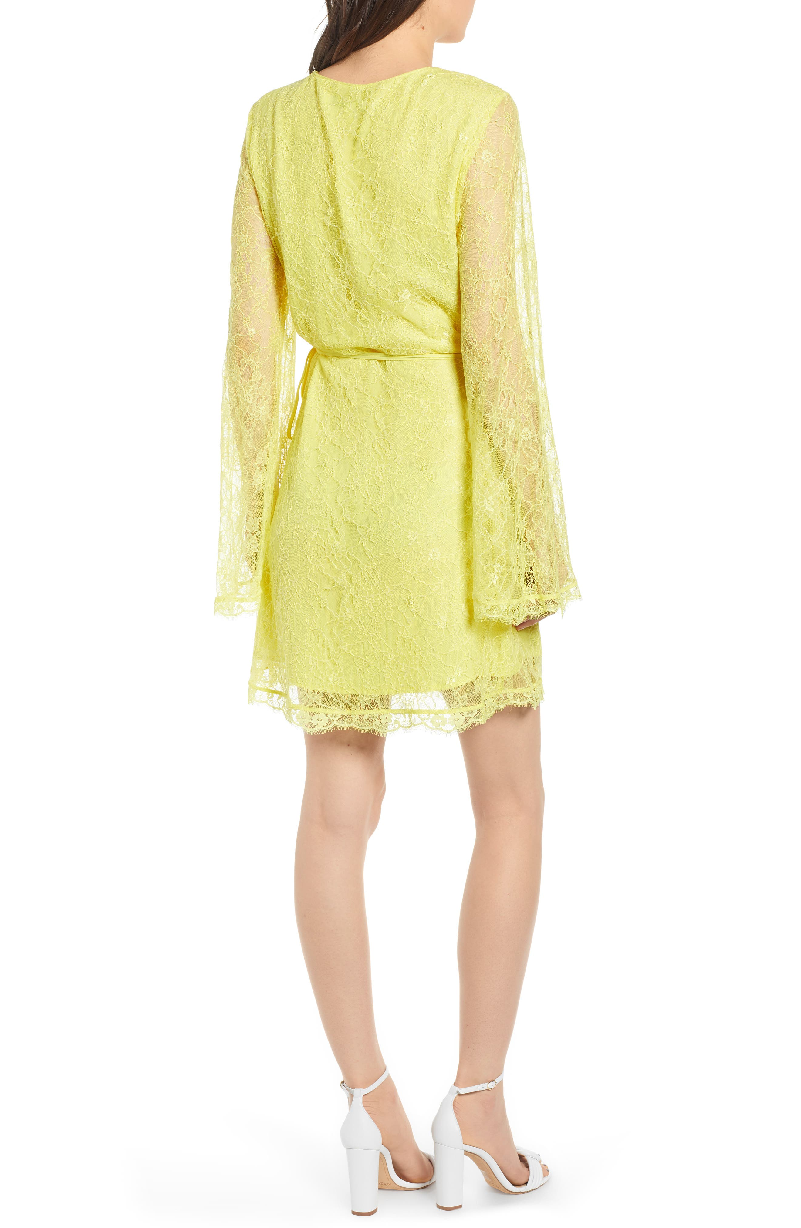 ,                             Lesley Lace Long Sleeve Wrap Dress,                             Alternate thumbnail 2, color,                             CITRON YELLOW