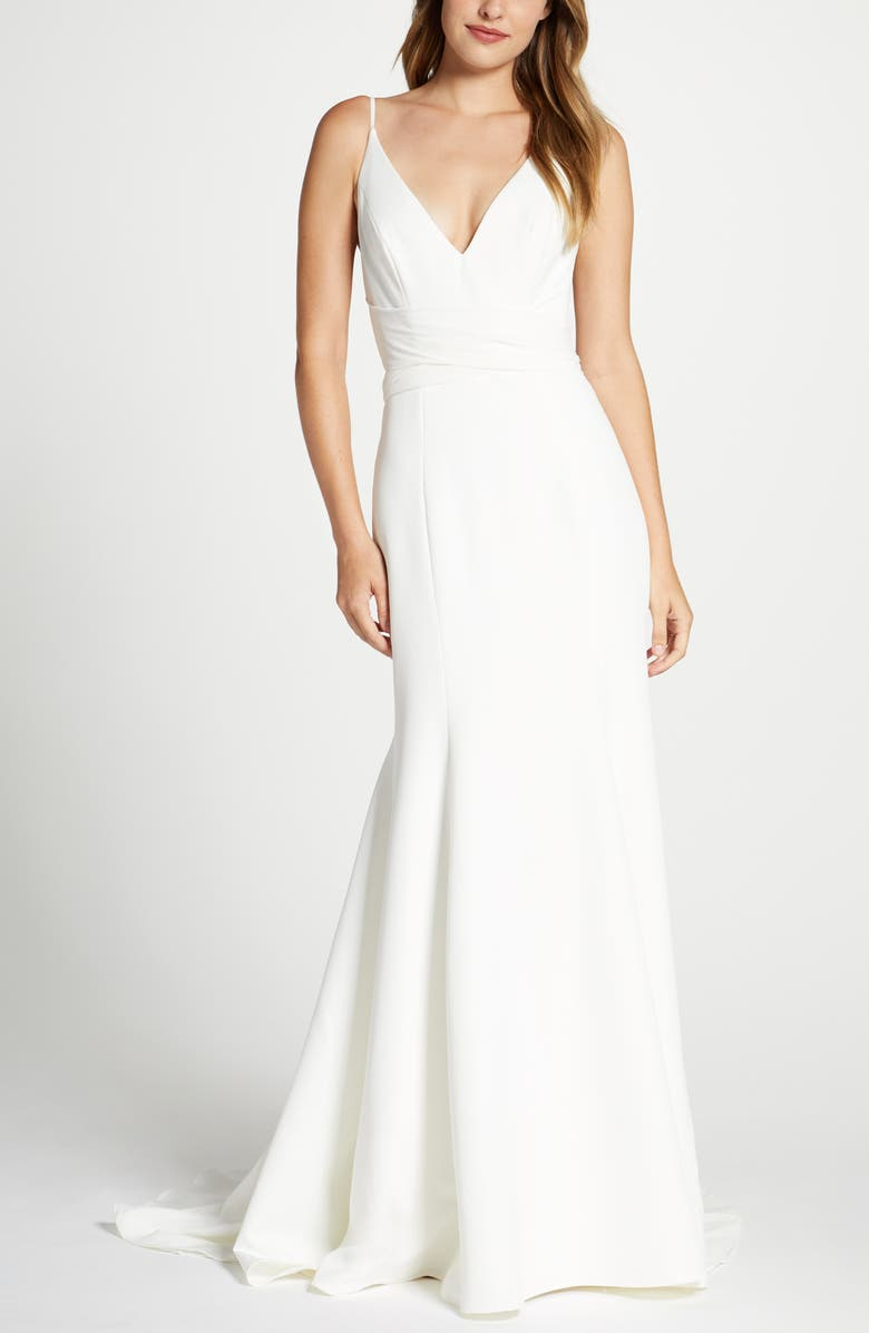 JENNY YOO Collection Marley Crepe Trumpet Wedding Dress, Main, color, IVORY