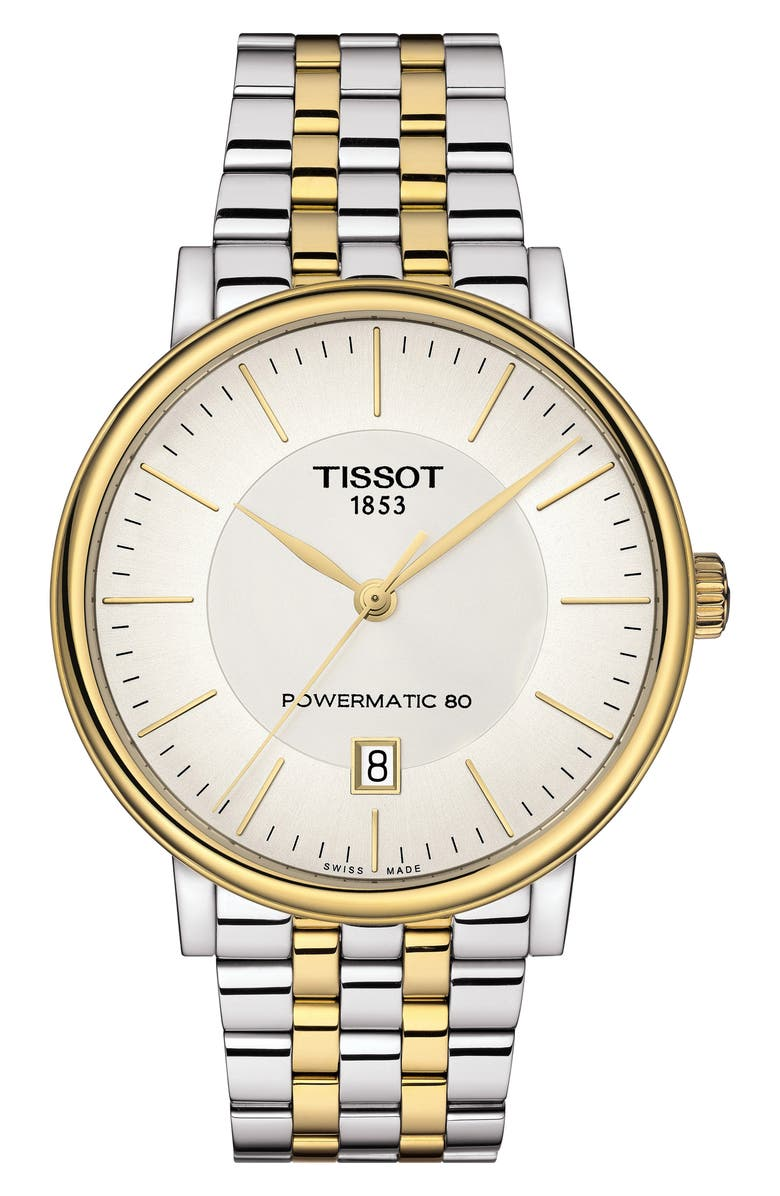 TISSOT T-Classic Carson Powermatic Bracelet Watch, 40mm, Main, color, SILVER/ WHITE/ GOLD