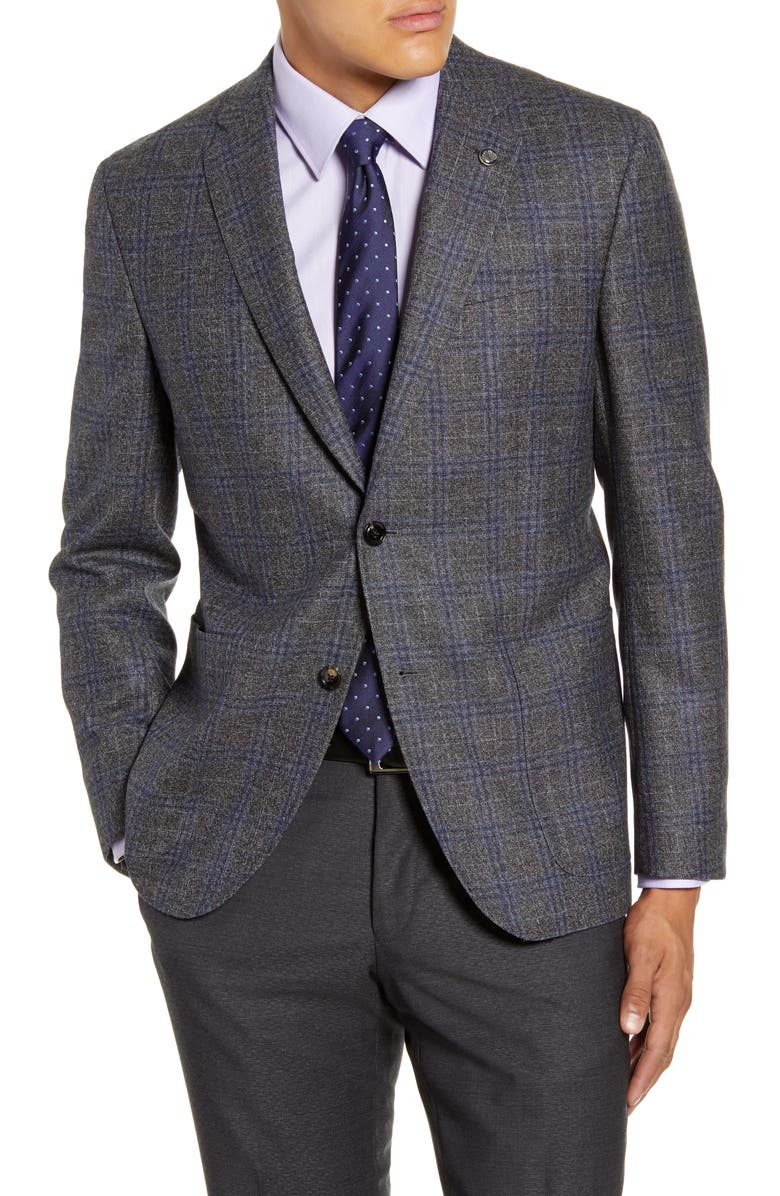 TED BAKER LONDON Kyle Trim Fit Plaid Wool Sport Coat, Main, color, GREY