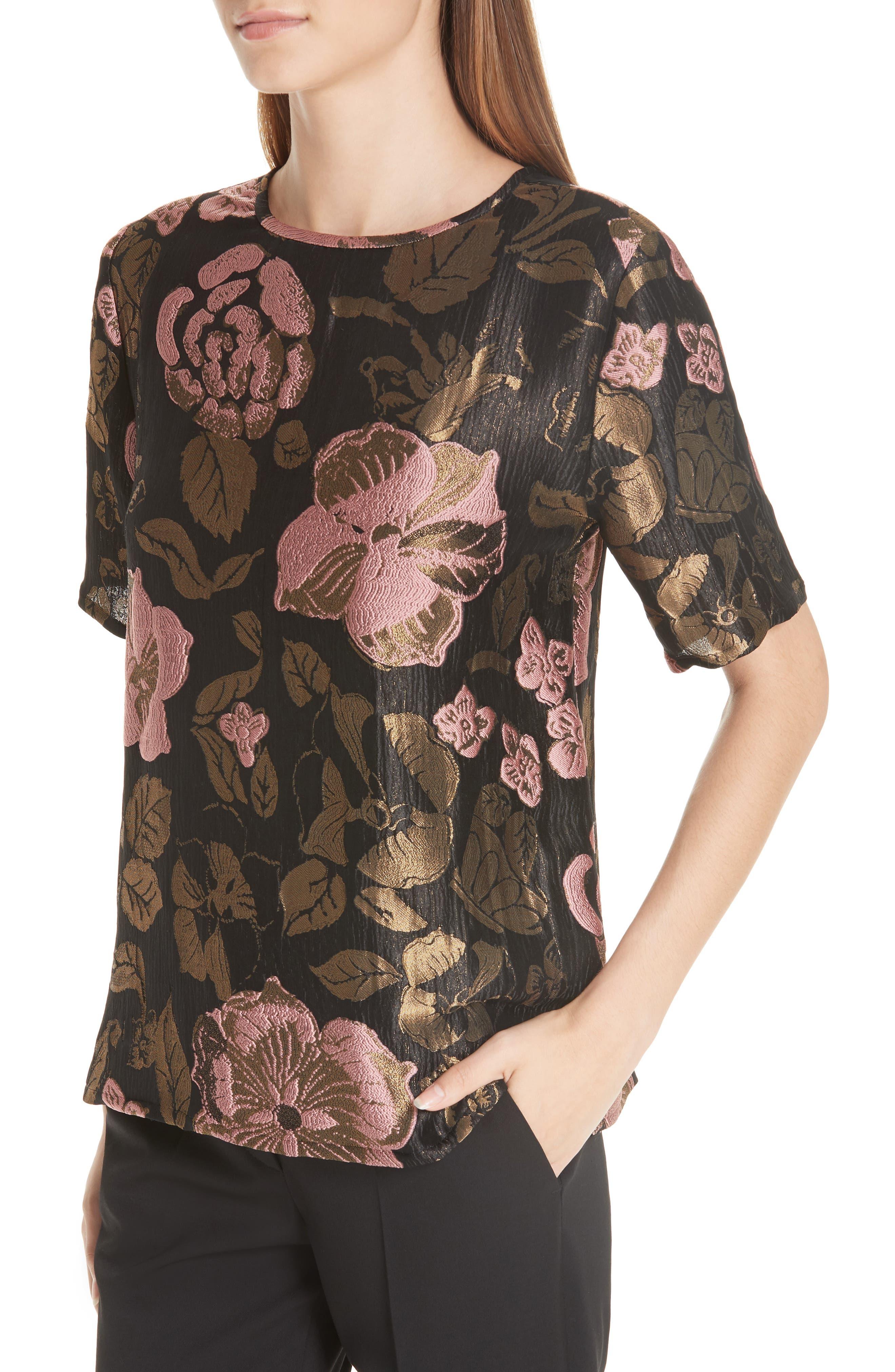 ,                             Metallic Floral Jacquard Top,                             Alternate thumbnail 4, color,                             BLACK