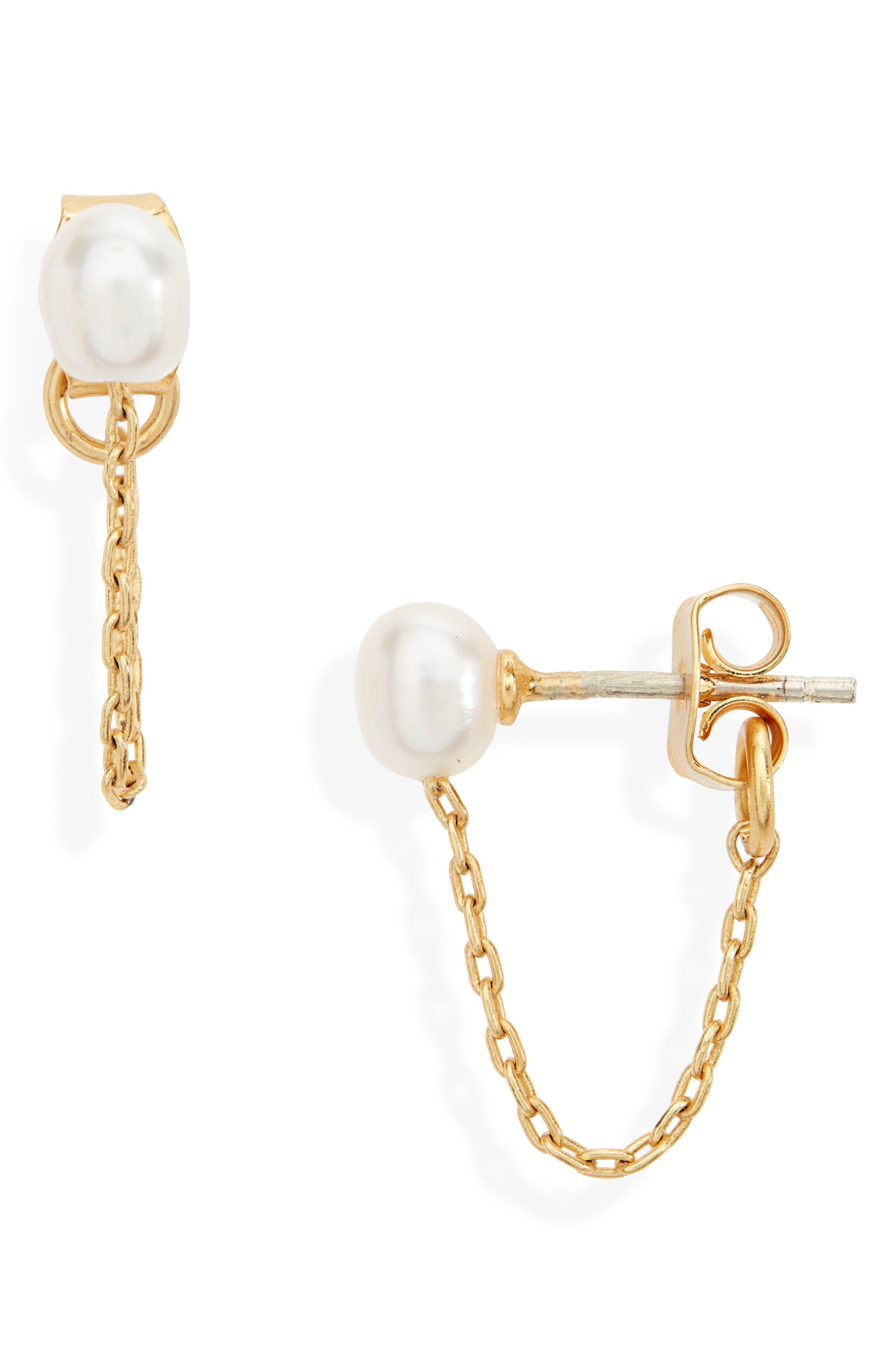 Freshwater Pearl Chain Stud Earrings