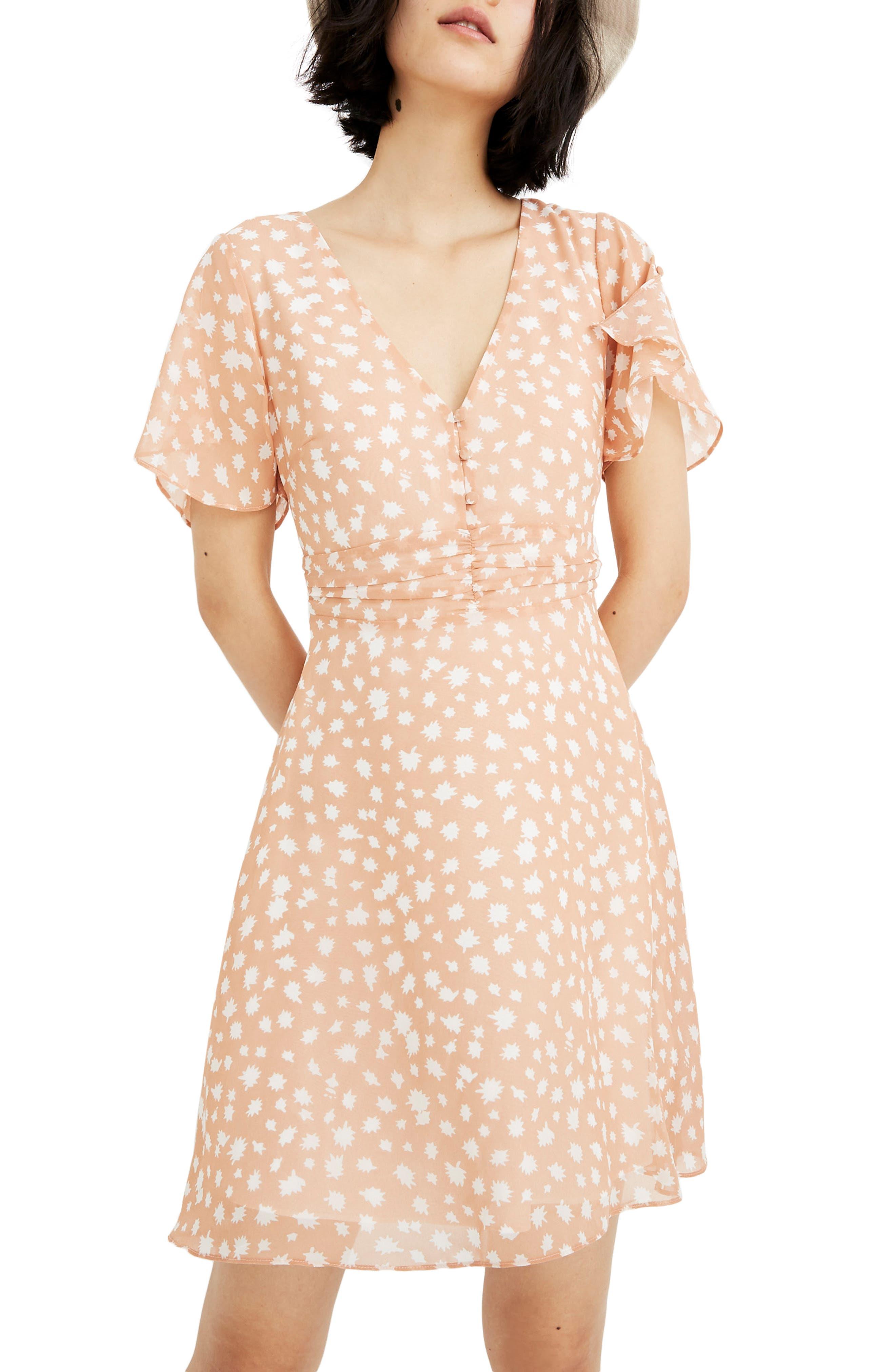 Madewell Star Shower Ruched Waist Minidress, Coral