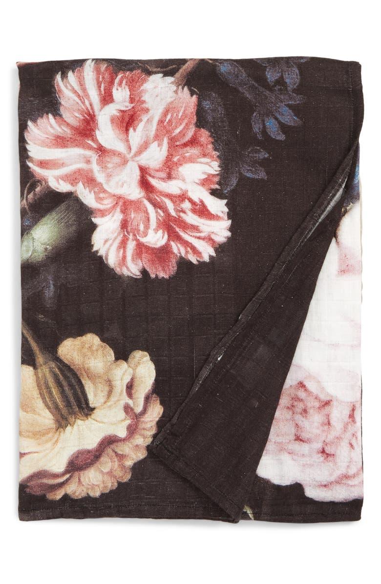 LOULOU LOLLIPOP Toucan Floral Deluxe Muslin Swaddle Blanket, Main, color, 001