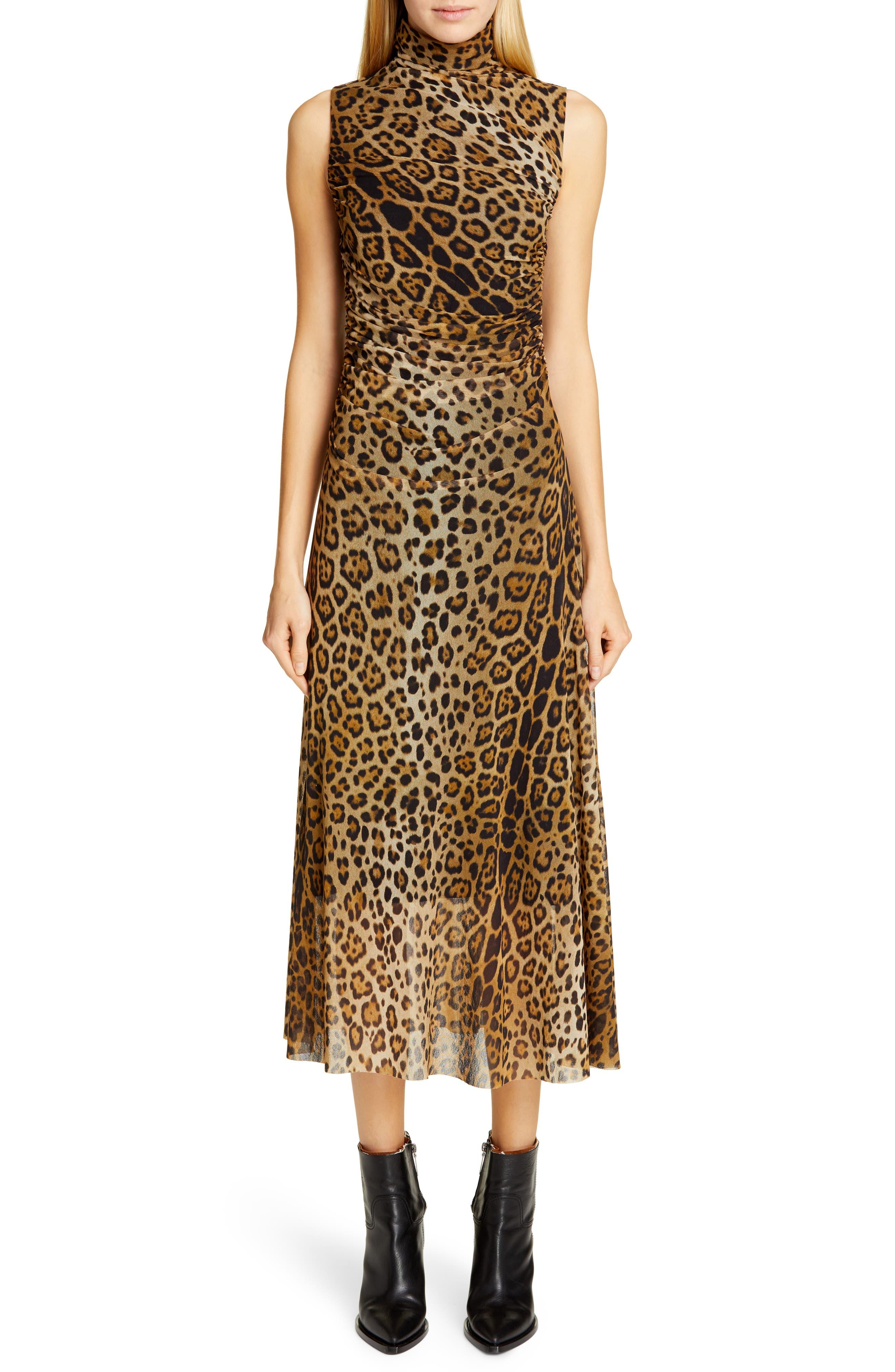 Fuzzi Ruched Leopard Print Midi Dress, Beige