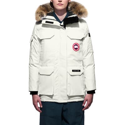 Canada Goose Expedition Extreme Weather Fusion Fit 625 Fill Power Down Parka With Genuine Coyote Fur Trim, (10-12) - Ivory